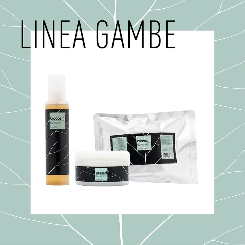 Linea Gambe, linea specifica per una estate a gambe 'scoperte'. Si compone di trattamenti professionali con principi attivi: Mirtillo, Sambuco, Centella