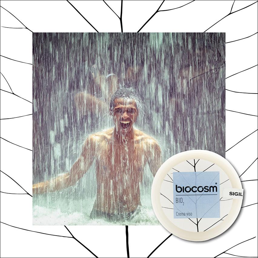 Proprio per la pelle maschile Biocosm ha creato la linea BiO2: una linea che mira a migliorare l'ossigenazione della pelle e mantenere l'elasticità
